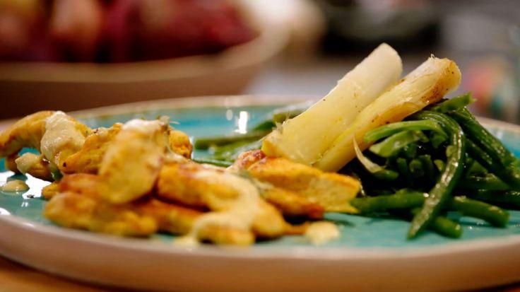 Kip met gepofte prei, prinsessenbonen en appel-mosterddressing | VTM Koken