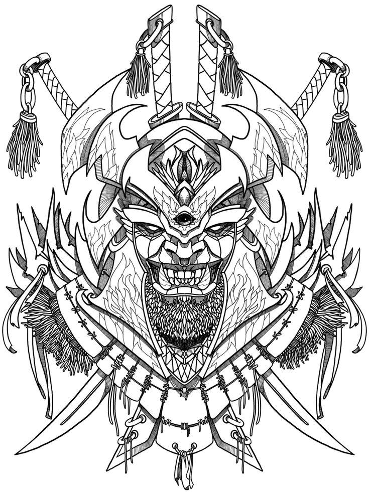 Evil samurai mask coloring book for adult, print