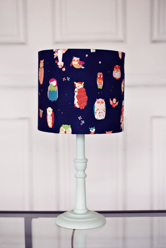 Lampshades blue owl lamp shade boys blue by ShadowbrightLamps