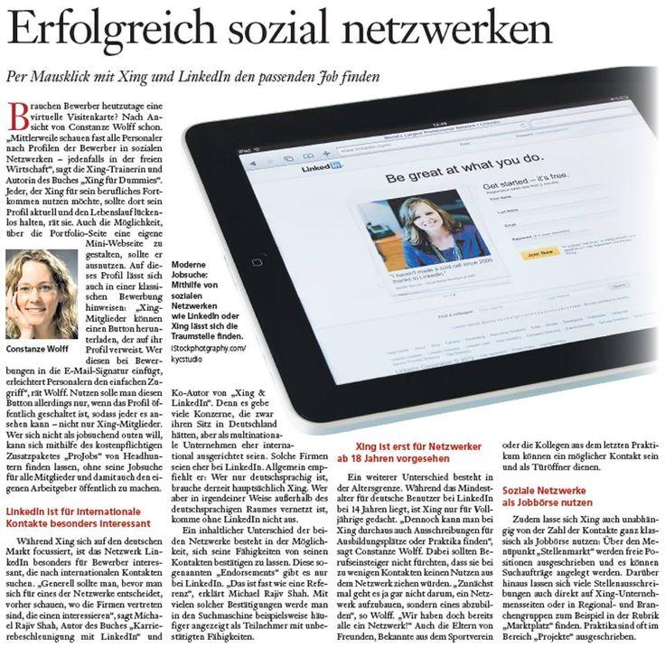 Erfolgreich sozial netzwerken in der  Hannoversche Allgemeine Zeitung @HAZ mit @constanzewolff  http://www.networkfinder.cc/presse/