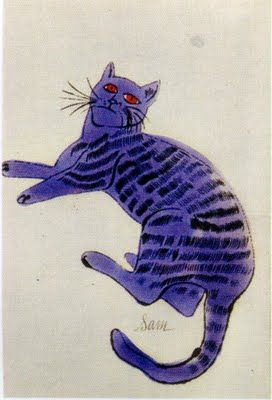 Purple cat with black stripes - Andy Warhol