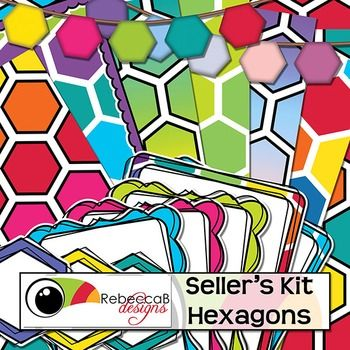Seller's Kit Hexagons is vibrant and eye-catching with plenty of colorful elements for sellers to create amazing product covers, posters, educational products etc.  Place a border or frame over a bold, hexagon background, add a label or header and finish it off with hexagon bunting.