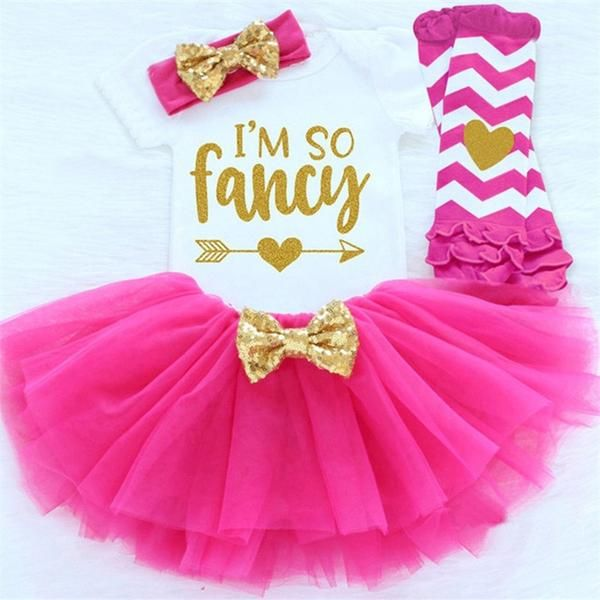 Tutu Skirt Outfits 1st//2nd Birthday Party Clothes 3pcs Baby Kids Girls Romper