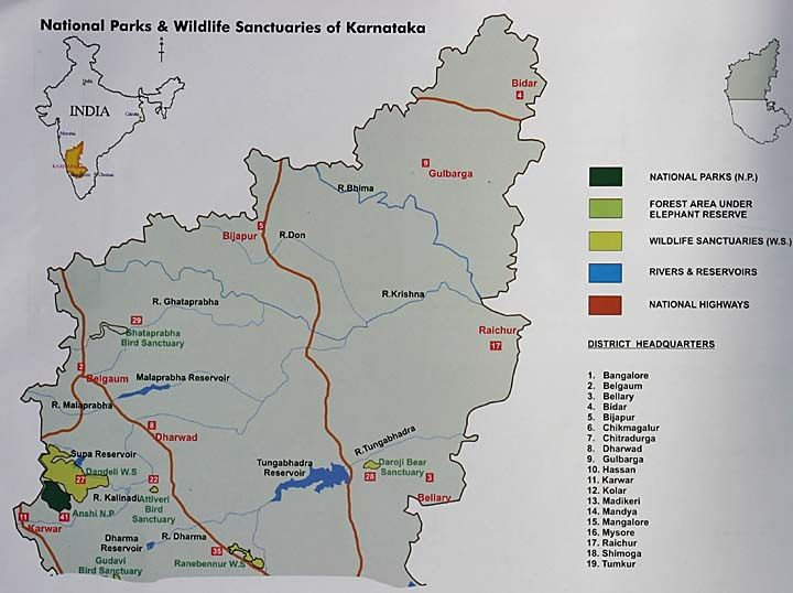 National Parks and Wildlife Sanctuaries in Karnataka, thejunglelook, map.