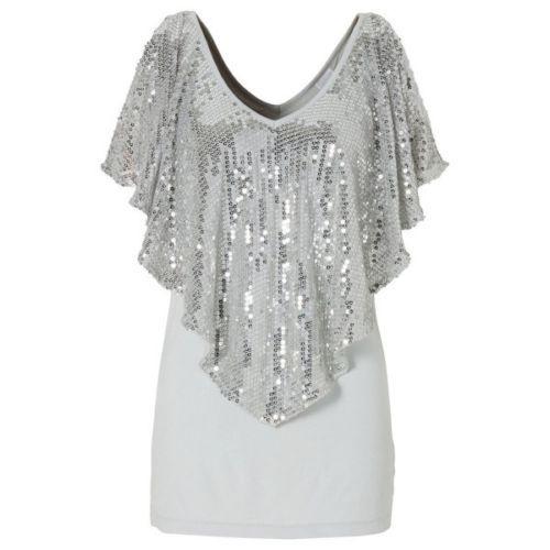 Beautiful-Sequin-Women-Sparkle-Glitter-Tank-Short-sleeve-Top-T-Shirt-Blouse-US