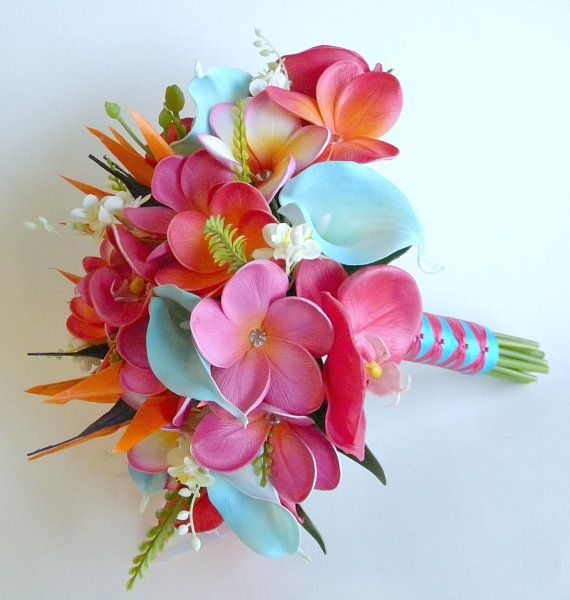 Pink Sunset Real Touch Beach Wedding Bridal Bouquet In Hot