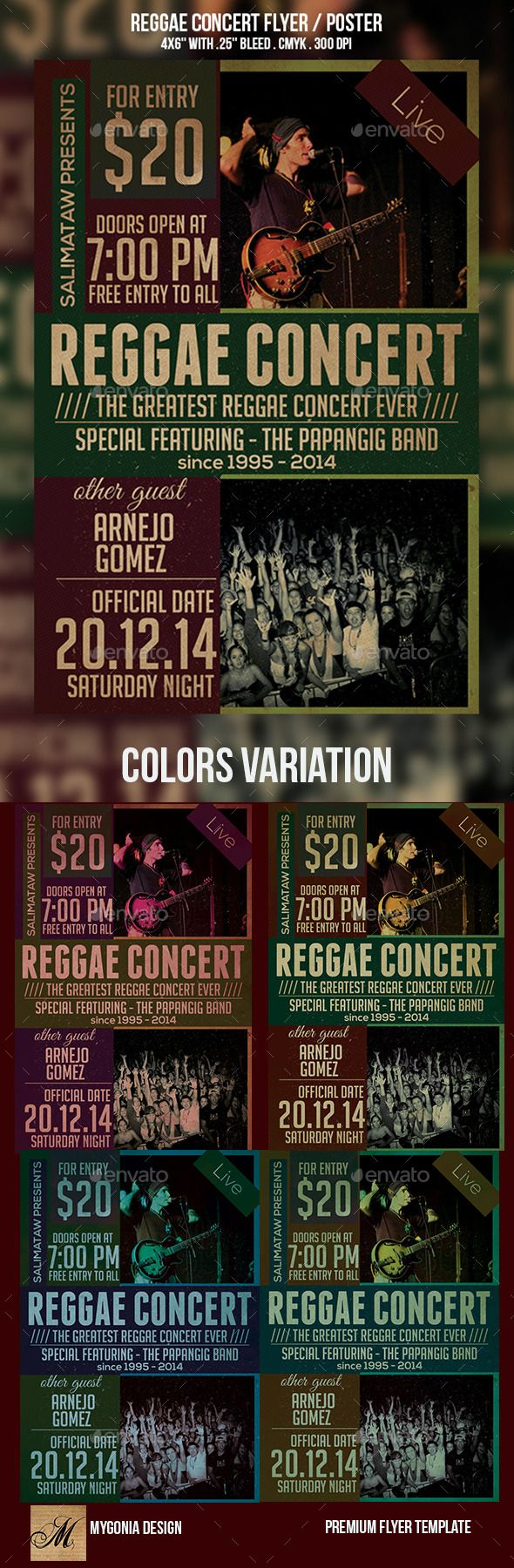 Reggae Concert Flyer / Poster by salimataw10 This flyer is suitable for Reggae Concert, event or parties. -The flyers size is 46 with .25 bleeds, CMYK 300DPI. -Layers are all