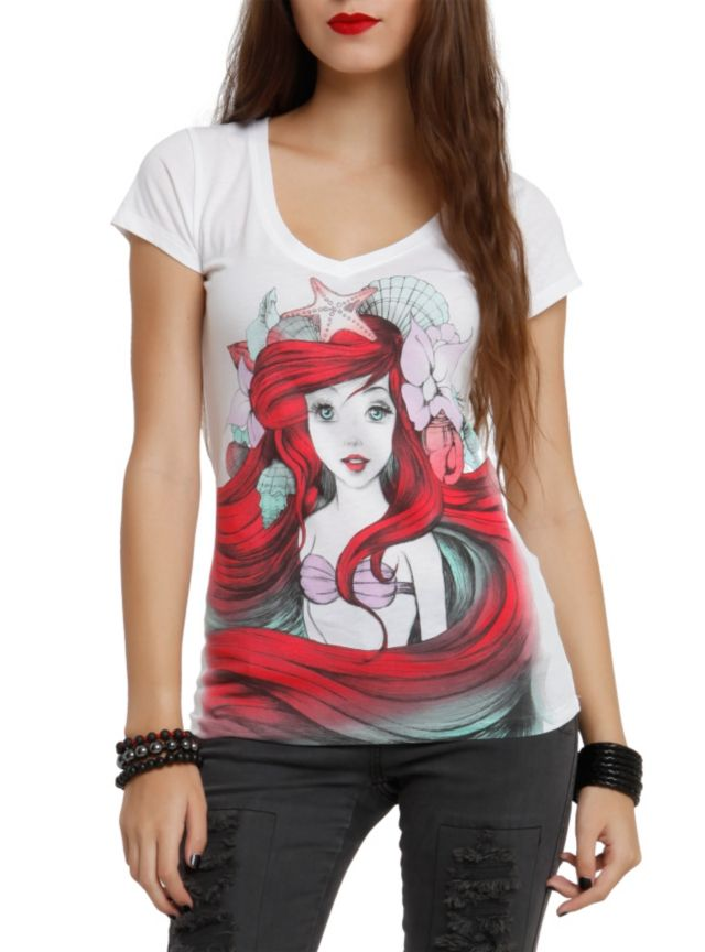 V-neck tee from Disney's The Little Mermaid with a colored sketch of Ariel. Follow for a Follow!