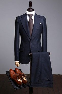 Navy Herringbone Bright Made to Measure Suit