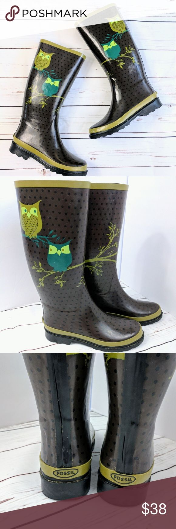 FOSSIL | owl wellies Fossil brown polka dot rain boots with green branch/owls décor. Excellent condition, Lining is fully intact, no stains, tears or holes. Boots have been worn only a couple times.  Boots will be shipped folded in a Medium Flat rate Box.   Approximate measurements  Boot shaft: 13 inches  Flat across boot opening: 7 inches Fossil Shoes Winter & Rain Boots