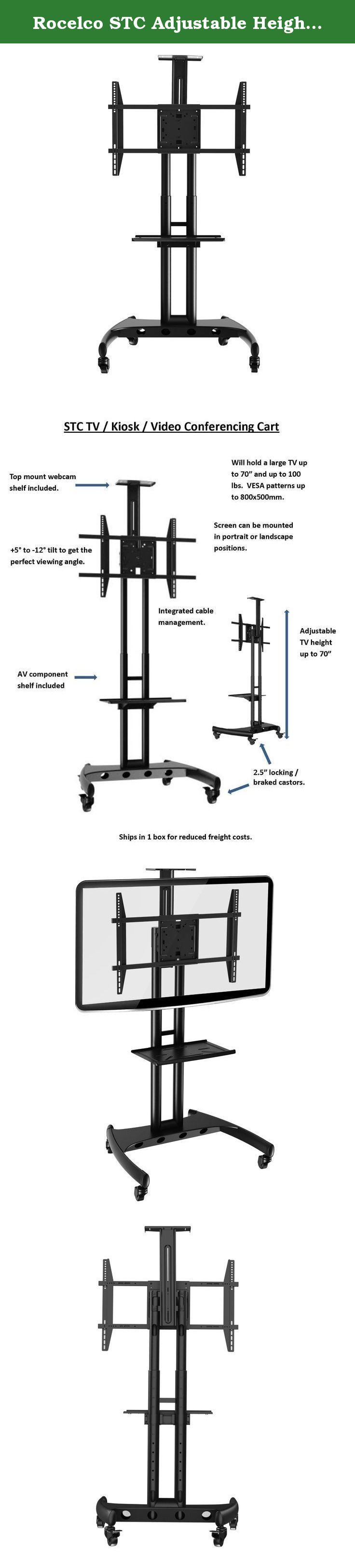 Rocelco STC Adjustable Height Mobile TV Stand, Tilts and Rotates, for 32-70 Inch Flat Screen TVs, with AV and Webcam Shelf - Black. The STC Large Flat Screen Video Cart with AV shelf and Video Tray is the perfect solution in offices, conference rooms, classrooms, kiosks, retail stores, hotels and training centers. The heavy duty steel frame can easily support large screens up to 100 lbs. The flexible TV mounting interface can accommodate screens from 32'' - 70'' (all VESA patterns up to...