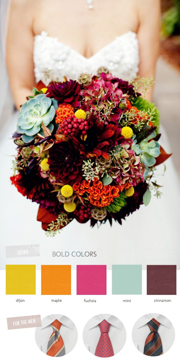 bold colors and grooms' ties inspired by this fall bouquet // photo by OliviaLeighWeddings.com
