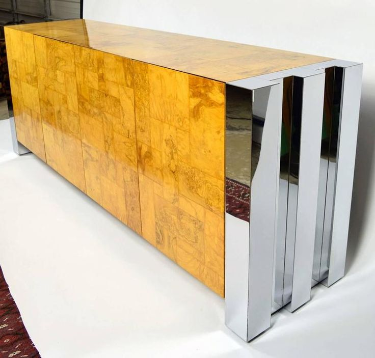 Paul Evans Cityscape Console in Burl Wood and Chrome 2
