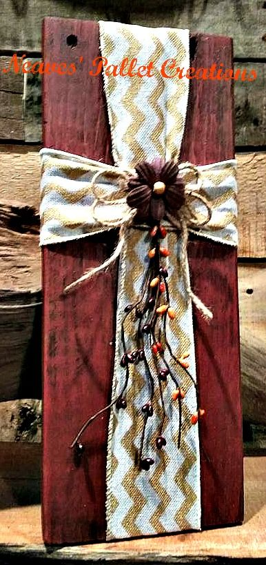 "RECYCLED WOOD PALLETS: This one is red with a sprig of pip berries, cream and gold chevron burlap ribbon, and a dark paper flower with a wood bead center. These all have a hanger on the back and are 14"" x 5.5"". They are on sale for $14 each. Item # 935"