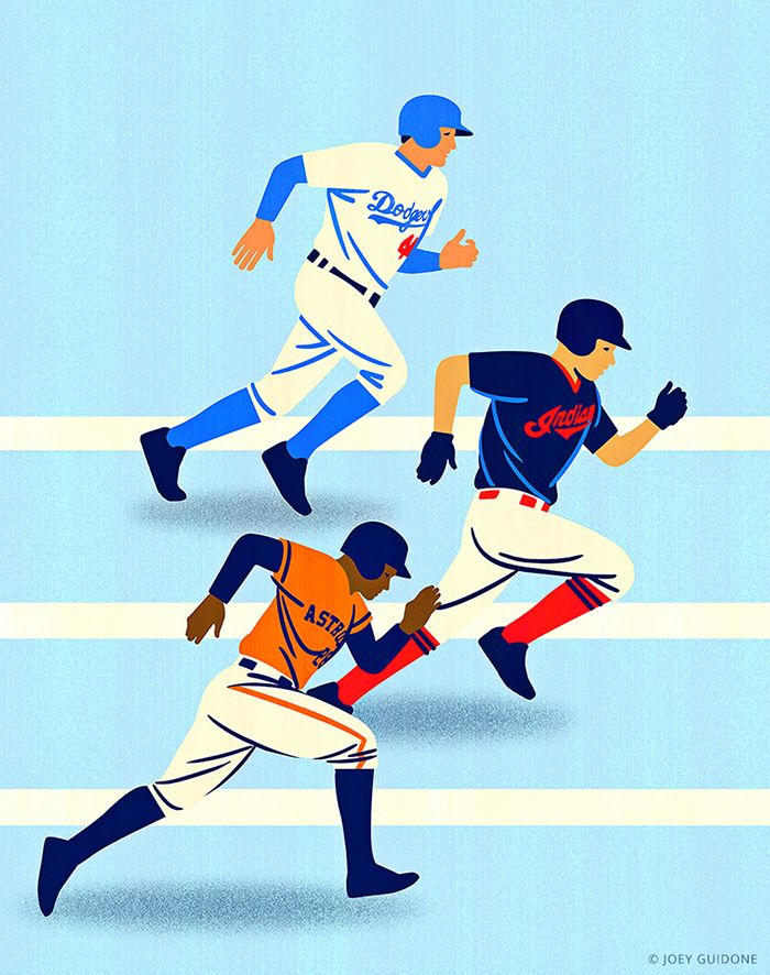 Joey Guidone - Major League Baseball playoffs. Dodgers, Indians, Astros, Players, Running, Competition, MLB, Illustration, Editorial, Advertising, Poster, Magazine,  Cover