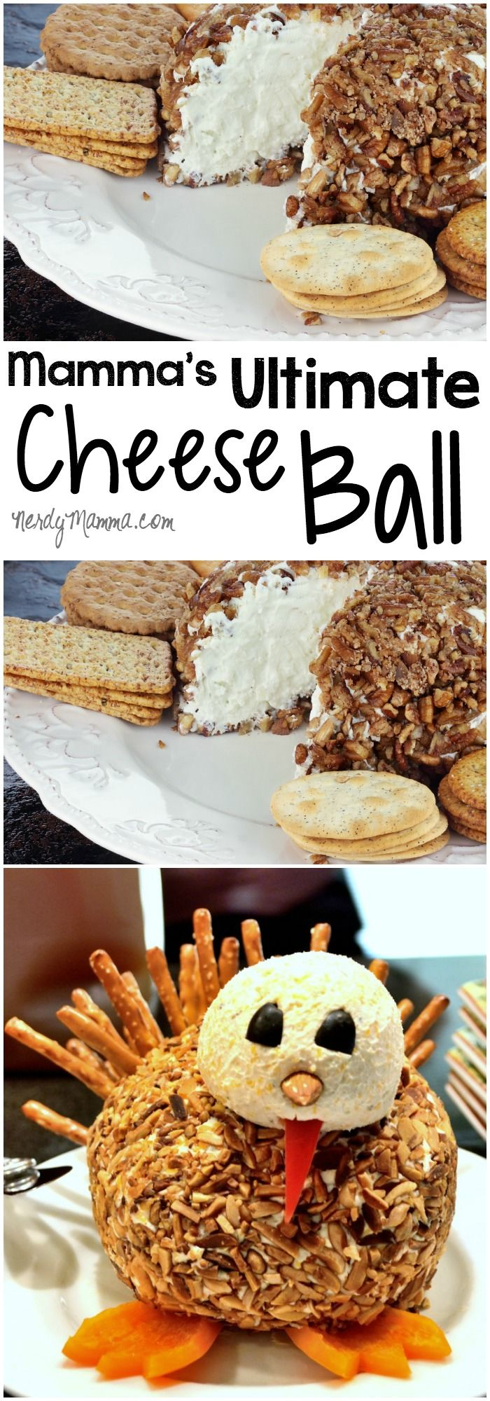 This is the easiest and yummiest cheese ball recipe ever. So smooth and the flavors are just awesome. I make it every Thanksgiving--shaped like a turkey. LOL!