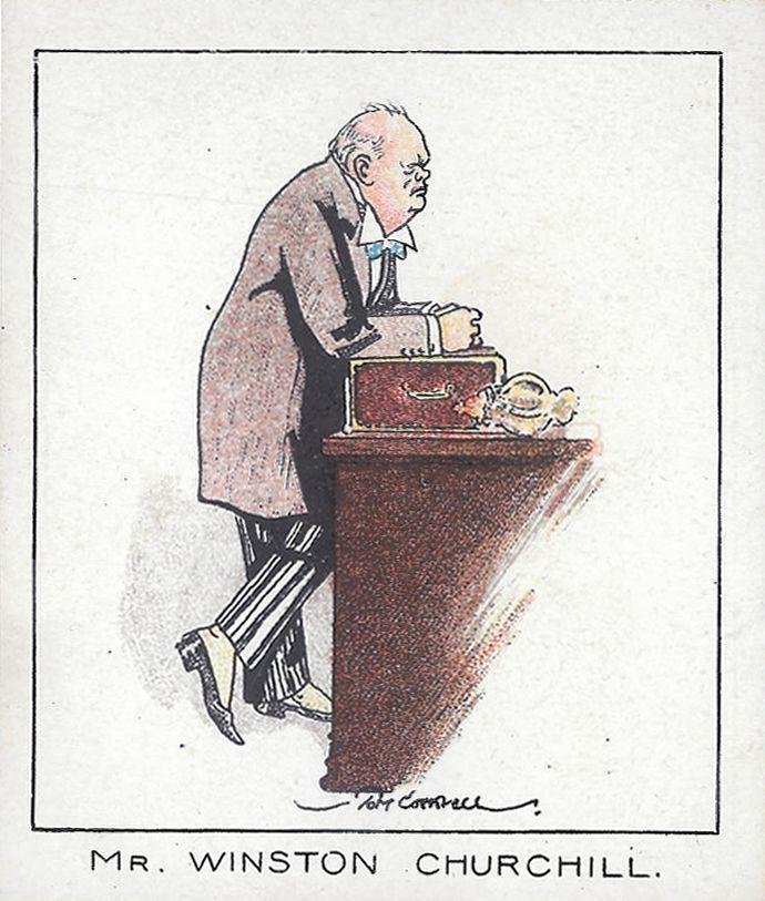 Winston Churchill, 1929; trade card Carreras, su disegno di Tom Cottrell