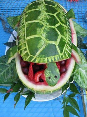 Cute and easy watermelon turtle from down memory lane