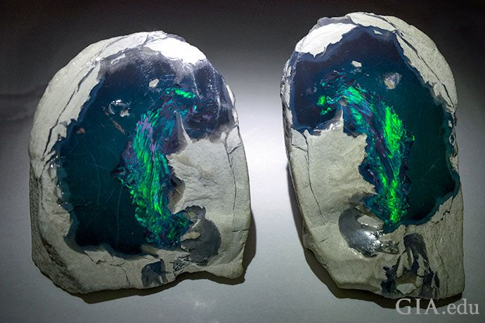 This black opal rough displays an obvious play-of-color, so it is considered precious opal. Photo: Vincent Pardieu/GIA. Courtesy: Vicki Bokros