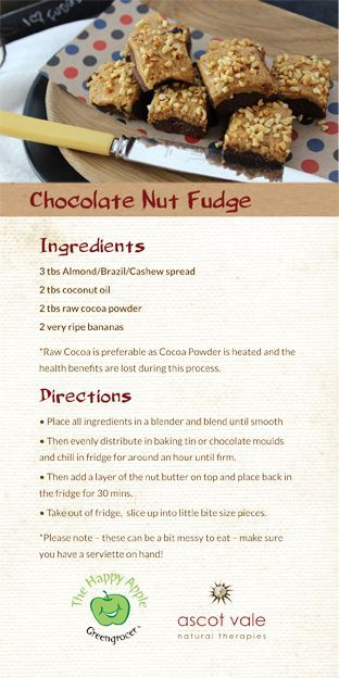 A delicious and healthy chocolate fudge using bananas! It's very creamy and smooth!