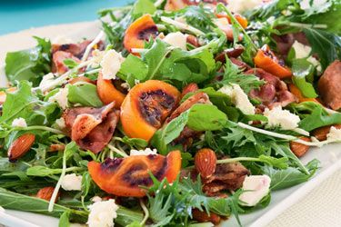 Tamarillo, bacon and feta salad