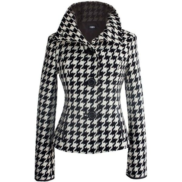 Houndstooth Wool Jacket ❤ liked on Polyvore featuring outerwear, jackets, coats & jackets, coats, blazers, houndstooth jacket, houndstooth blazer, blazer jacket, hounds tooth jacket and woolen jacket