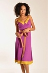 The Plenty by Tracy Reese Banded Slip Dress is synonymous with feminine and fun. Constructed from a dense jersey, it has striped straps, mustard bordering at the neck and hem, slight ruching in the bust and a self-tie. This look is pulled together by its magenta-and-mustard color combination.