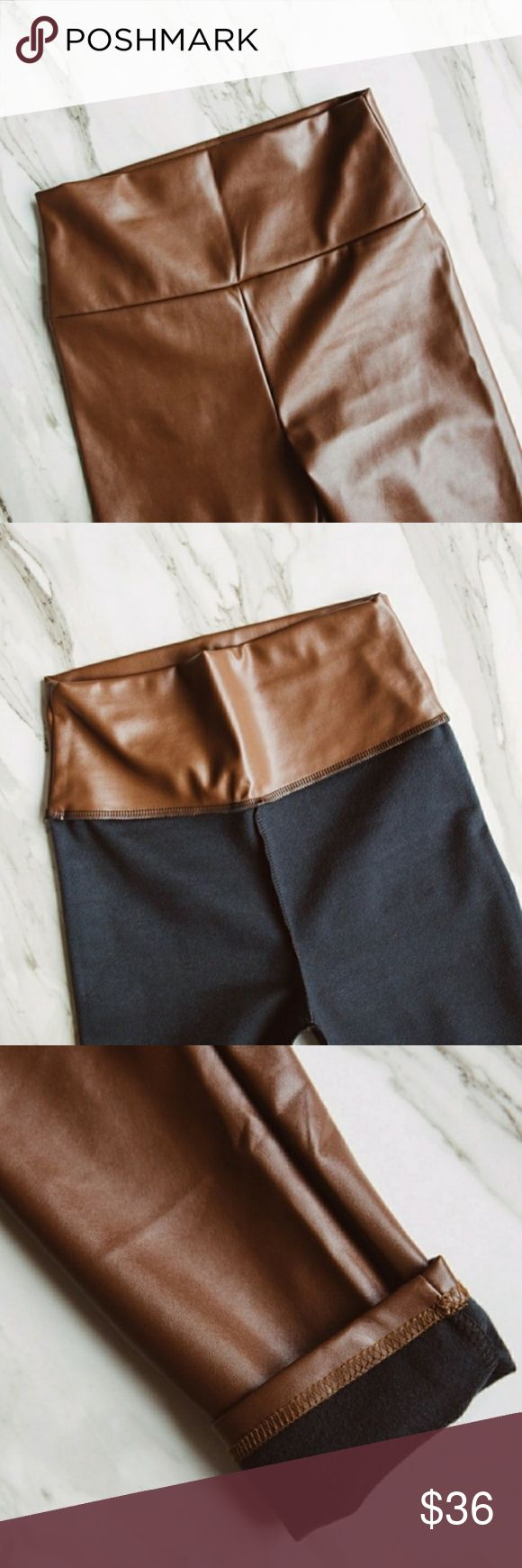 """""""Coffee Express"""" stunning liquid legs for miles, vegan leather, animal friendly, high waisted, thick material for a smoothed out look when worn, casual style but incredibly design to hug you in all the right places. Bundle to get a discount.    S: W26-28"""" H28-30""""  M: W28-30"""" H30-32"""" L: W30-32"""" H32-34"""" XL: W32-34"""" H34-36"""" TSH Pants"""