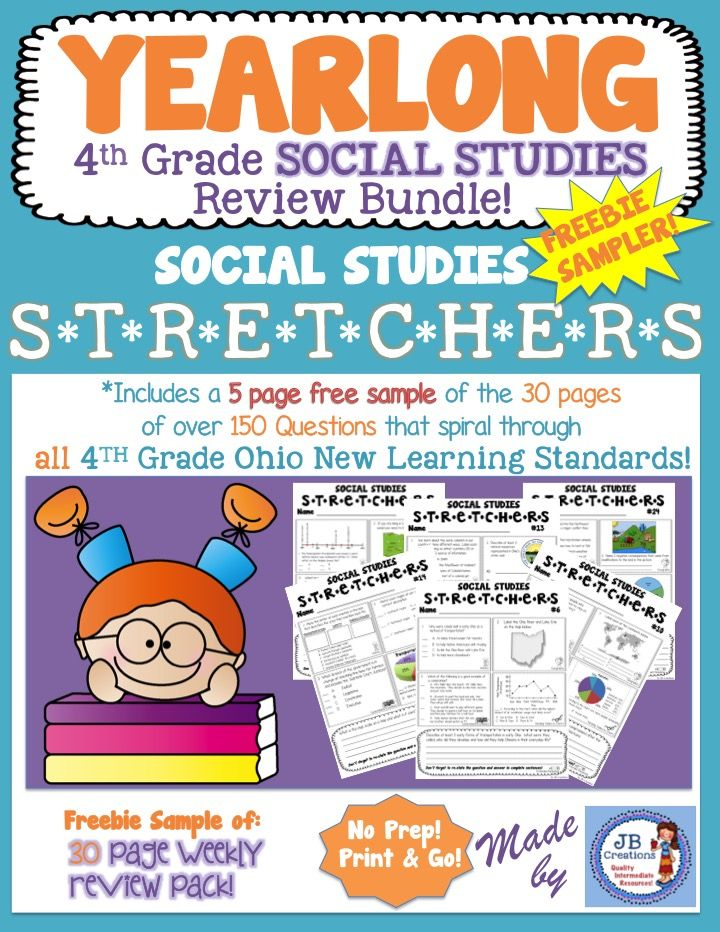 FREEBIE sampler of my YEARLONG 4th Grade Social Studies Spiral Review Bundle!  Each sheet features 5 questions pulled from each of the following standard areas: Govt/Econ, History, Geography, Map Skills, Timelines, Tables & Graphs.  Perfect for homework, station work, bell work, etc. https://www.teacherspayteachers.com/Product/4th-Grade-Social-Studies-Stretchers-Freebie-Sampler-2495730