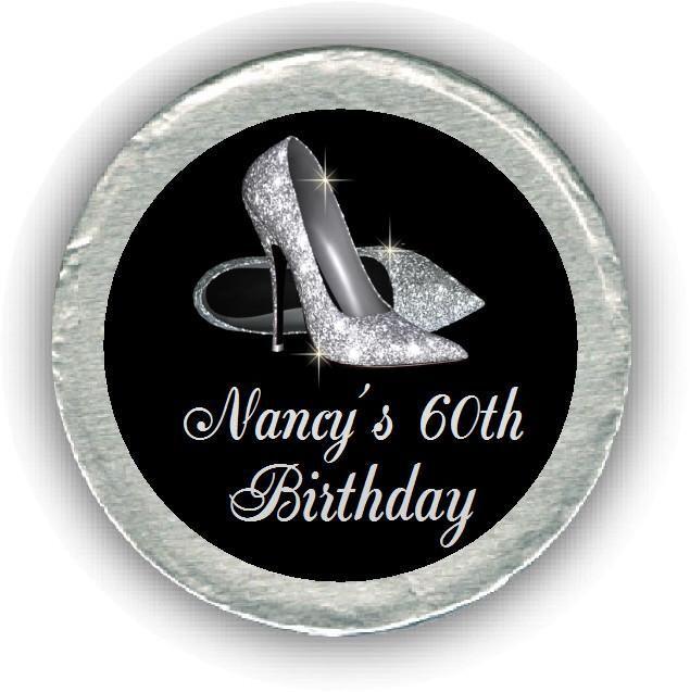 Silver Heels Birthday Chocolate Coin #Personalized #chocolates #birthdayparty #heels