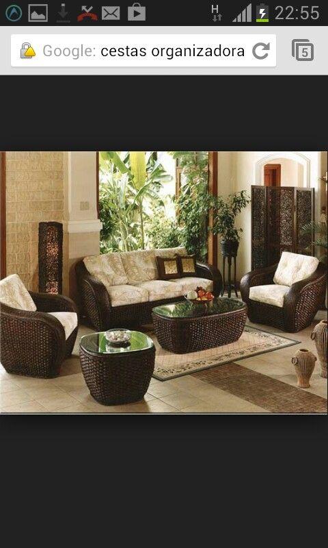 Muebles de mimbre decoracion para salas pinterest for Sofas mimbre exterior