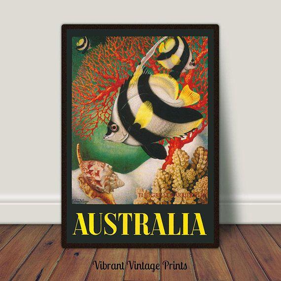 Australia Great Barrier Reef Fish Vintage Travel Poster
