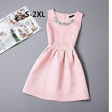Women's Vintage Beaded Collar Sleeveless Jacquard Skater Plus Size Dress 2015 – $9.08