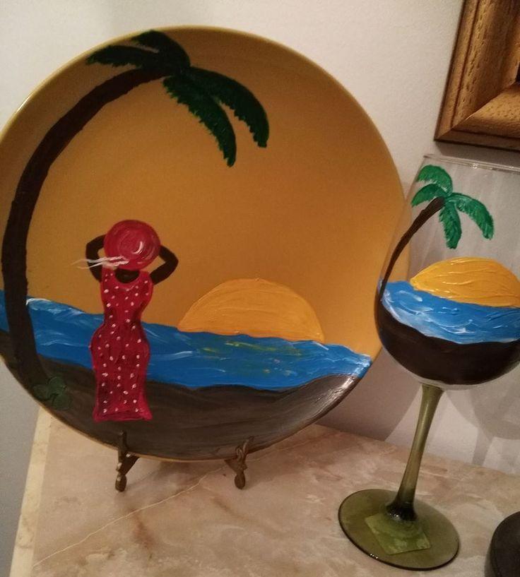 Folk artist Karen Terry ethnic hand painted ceramic plate and glass set 4 pieces #Folk