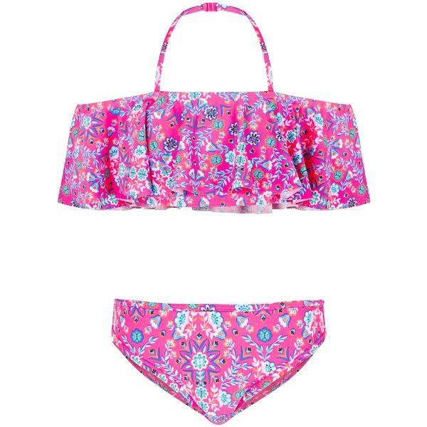 Teens Pink Floral Print Bardot Neck Bikini ($21) ❤ liked on Polyvore featuring swimwear, bikinis, pink pattern, pink bikini, ruffle bikini bottom, pink bikini top, halter bikini tops and bikini bottom