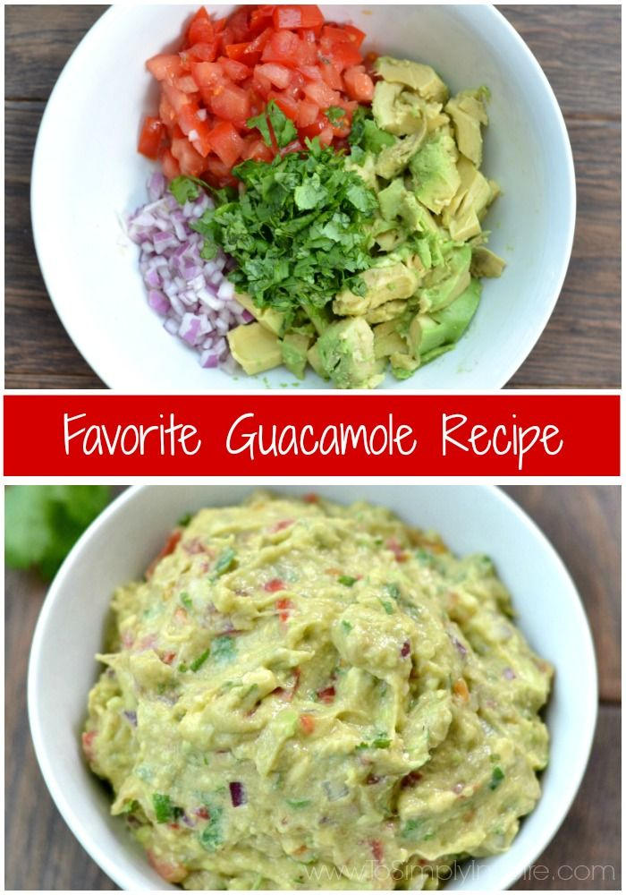 This easy Homemade Guacamole recipe is made with just a few all natural ingredients. Serve with your favorite chips or as the perfect topping on burrito bowls, chicken or fish. | http://www.ToSimplyInspire.com