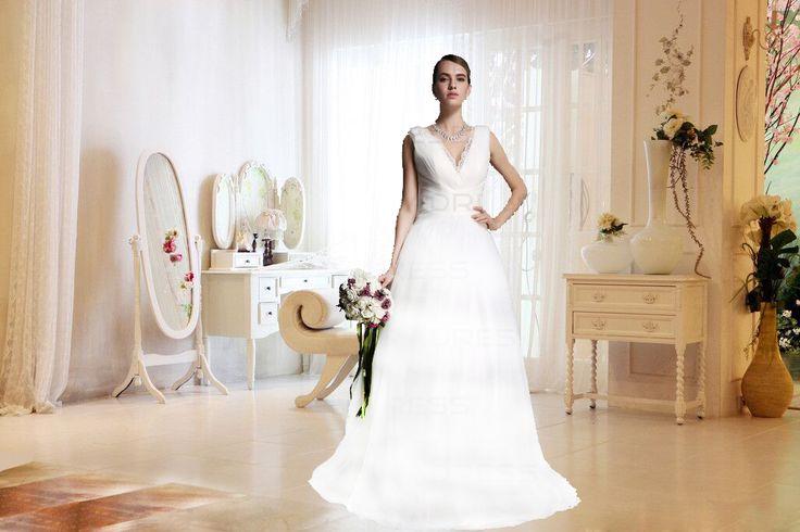 Elegant Reisverschluss Mitte Rücken Bodenlang Ärmellos Brautkleid