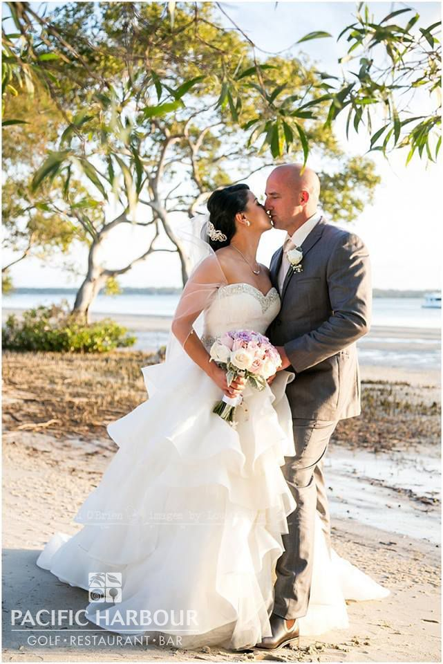Gorgeous shot of Francesca & Michael on the Bribie Island beach, they held their wedding at the Pacific Harbour Golf & Country Club and it was a wonderful day for such a beautiful couple.