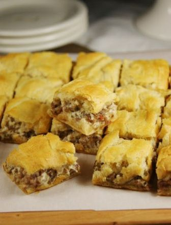 Crescent Sausage Bites--1 lb of hot sausage, 2 containers of crescent rolls and 8 oz. of cream cheese. 375 degrees for 20 minutes. yummy!