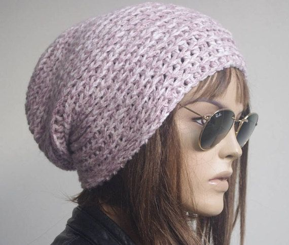 d16591c1240 Womens Hats chemo Hat beret Hat Slouchy Women Hat lilac ivory mix Slouch  Beanie Women Hat