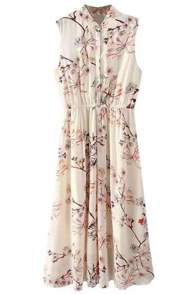 Demure Floral Print Sleeveless Shirt Dress