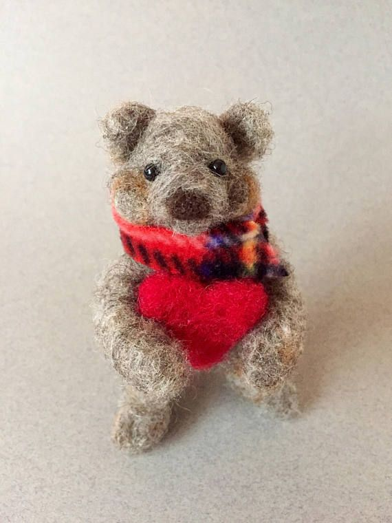 Needle felted bear felted bear felted animal Waldorf toy