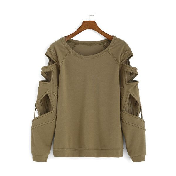SheIn(sheinside) Bat Sleeve Hollow Green T-shirt ($15) ❤ liked on Polyvore featuring tops, jumpers, shirts, sweaters, green, long sleeve tops, brown t shirt, long sleeve t shirt, long sleeve cotton tees y cotton t shirt