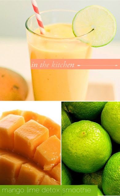 Mango Lime Detox Smoothie - It has coconut water to keep you hydrated as well as a pinch of cayenne to rev up your metabolism. Yum!