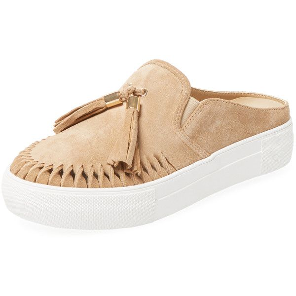 Maiden Lane Women's Andie Open Back Sneaker - Cream/Tan - Size 5.5 ($89) ❤ liked on Polyvore featuring shoes, sneakers, leather slip on sneakers, tan leather shoes, open back sneakers, leather trainers and tan sneakers