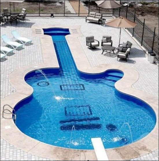 craaazy: Les Paul, Swim Pools, Rocks Stars, Lespaul, Cool Pools, Guitar, Dreams Pools, Pools Design, Awesome Pools