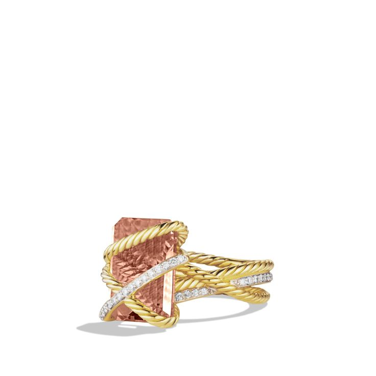 I'm obsessed with this ring! Cable Wrap Ring with Morganite and Diamonds in Gold