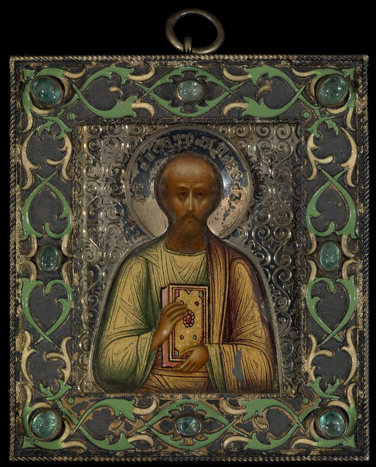Miniture Faberge icon of the Apostle Paul in a silver and ...