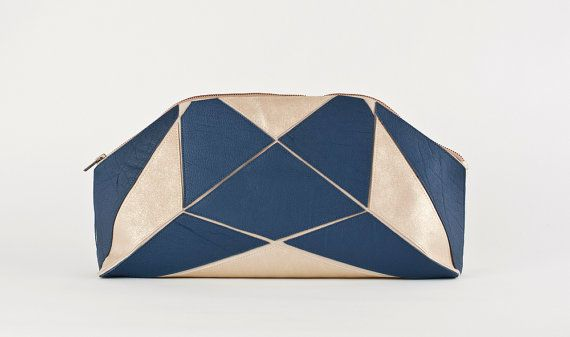 Foldable XXL clutch blue / soft gold by larakazis on Etsy, $315.00