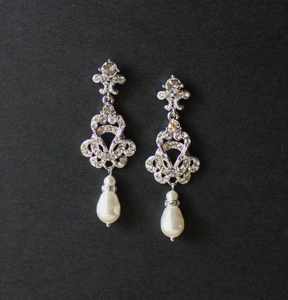 Cristallo e perla nuziale lampadario orecchini, gioielli nuziali di stile Art Deco, sposa Vintage Gioielli, gioielli di damigelle d
